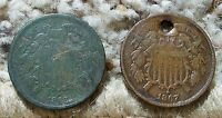 1866 & 1867 2 CENT PIECES-1867 IS HOLED-BOTH IN LOWER GRADE CONDITION