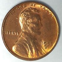 1953-D  1C LINCOLN WHEAT CENT,17RR1412 RED