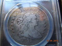 1798 DRAPED BUST SILVER DOLLAR, PCGS VF DETAILS, GREAT DETAILS & CHARCOAL HUES