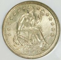 NGC MINT STATE 63 1854 H10C ARROWS LIBERTY SEATED HALF DIME