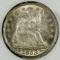 NGC MINT STATE 62 1853 WITH ARROWS SEATED HALF DIME
