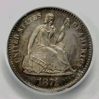 PCGS MINT STATE 63 1871 S SEATED HALF DIME