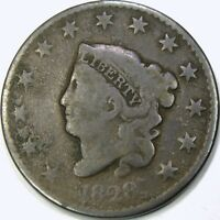 1828 1C NARROW DATE CORONET HEAD LARGE CENT  VG DETAILS