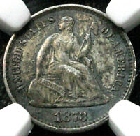 1873 H10C SEATED LIBERTY HALF DIME NGC MINT STATE 61