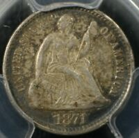 1871 H10C SEATED LIBERTY HALF DIME PCGS AU58 ALMOST UNCIRCULATED