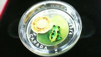 2014 CANADA SILVER $20 WATER-LILY AND LEOPARD FROG MURANO GLASS COIN PURE SILVER