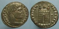 HIGH GRADE CONSTATINE THE GREAT CAMP GATE AE 3   TONED SILVERING REMAINS