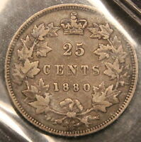 1880 H CANADA SILVER 25 CENTS F 15 ICCS WIDE 0 R VARIETY F VF. BV $775