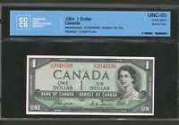1954 $1 DEVIL'S FACE BANK OF CANADA CCCS UNCIRCULATED UNC60. COYNE TOWERS BV$150