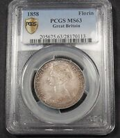 1858 GREAT BRITAIN GOTHIC FLORIN MS63 PCGS 2 SHILLINGS. NICELY TONED VICTORIA