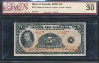 1935 $5 BANK OF CANADA BCS VF30 NOTE. BC 5 A314275. BV $625