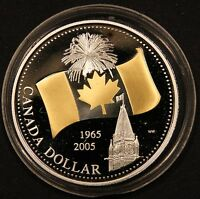 2005 CANADA SELECTIVELY GOLD PLATED FLAG PROOF SILVER DOLLAR FROM SPEC. ED SET