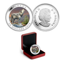2015 CANADA $20 THE WOLF   1 OZ. FINE SILVER COLORED COIN