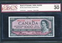 Click now to see the BUY IT NOW Price!  1954 $1000 DEVIL'S FACE BANK OF CANADA BCS VF30. BC 36. BV $6 000