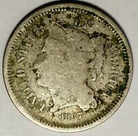 1867  3C THREE CENT NICKEL 18SOC2701  ONLY 50 CENTS FOR SHIPPING