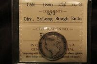 1886 CANADA SILVER 25 CENTS VG 8 ICCS 6 OVER 3 &  6/7. LBE OBV 5. .