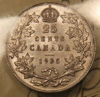 1935 CANADA SILVER 25 CENTS. ICCS EF 45 WITH OUTSTANDING LUSTRE.