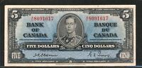 1937 $5 BANK OF CANADA   OSBORNE TOWERS VF 20 BC 23A SHORT RUN.  SIGNATURES