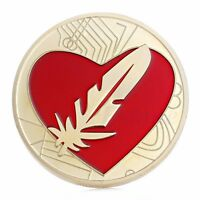 FEATHER COIN LIKE BITCOIN GOLD PLATED RED HEART LOVE TOKEN COMMEMORATIVE COINS