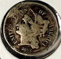 1867 P  3C THREE CENT NICKEL 18UOC1302  ONLY 50 CENTS FOR SHIPPING