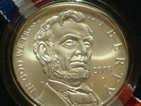 2009 ABRAHAM LINCOLN UNCIRCULATED SILVER DOLLAR COMMEMORATIVE IN OGP WITH COA