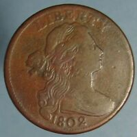 1802 DRAPED BUST LARGE CENT IN FINE CONDITION   REVERSE DIE CUT  S 232
