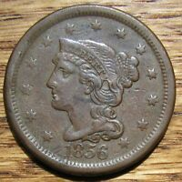 1856 BRAIDED HAIR LARGE CENT   SHARP & ORIGINAL EF COIN