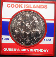 COOK ISLANDS 1986 QEII  60TH BIRTHDAY $1 COIN UNC