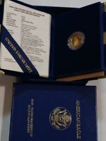 1990 GOLD AMERICAN EAGLE $5 PROOF COIN WITH OGP  HAS BOX CASE & COA