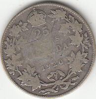 .800 SILVER 1920 GEORGE V 25 CENT PIECE VG 8