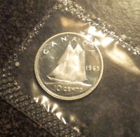 1965 CANADA SILVER DIME   PROOF LIKE IN MINT CELLO   D1965 1