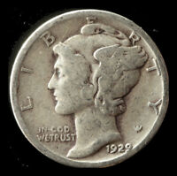 1929 P MERCURY 90  SILVER DIME SHIPS FREE. BUY 5 FOR $2 OFF
