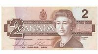 THE LAST PRINTED 2 DOLLAR BILL IN CANADIAN CURRENCY 1986 BANK OF CANADA $2 BILL