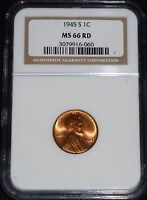 1945-S LINCOLN WHEAT CENT- NGC MINT STATE 66 RED GEM BRILLIANT UNCIRCULATED   060