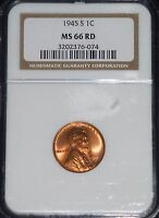 1945-S LINCOLN WHEAT CENT- NGC MINT STATE 66 RED GEM BRILLIANT UNCIRCULATED    76-074