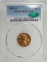 1936-D WHEAT CENT PENNY RED RD PCGS MINT STATE 67 CAC LINCOLN