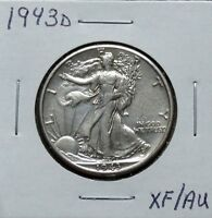 1943D EXTRA FINE /AU PROBLEM FREE WALKING LIBERTY HALF DOLLAR 7N03MED