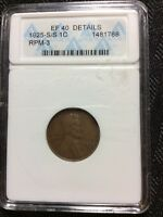 1925 S/S LINCOLN CENT RPM-3 ANACS EF40 DETAILS