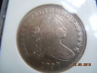 1797 DRAPED BUST DOLLAR, NGC EXTRA FINE 40, 10X6 STARS, LARGE LETTERS, ONLY 7000 MINTED