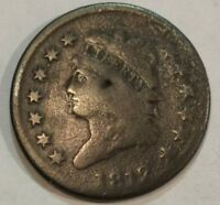 1812 CLASSIC HEAD LARGE CENT.  DATE G-VG WITH SOME DAMAGE.