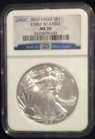 2010 SILVER EAGLE $1 NGC MS70 25TH ANNIVERSARY/EARLY RELEASES LABEL