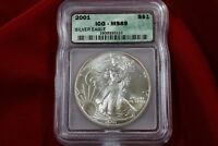 2001 AMERICAN SILVER EAGLE, ICG MINT STATE 69, UNITED STATES BULLION COIN