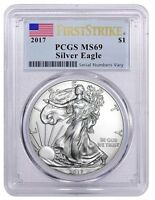 2017 AMERICAN SILVER EAGLE - PCGS MINT STATE 69 - FIRST STRIKE AMERICAN FLAG