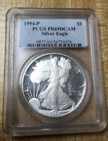 1994P PROOF SILVER EAGLE PCGS PR 69 DCAM