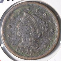 1847 1C BN BRAIDED HAIR CENT  GOOD CONDITION 170573