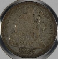 1887 10C SEATED LIBERTY DIME ABOUT GOOD CONDITION 176375