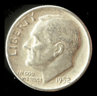 1952-P ROOSEVELT 90 SILVER DIME SHIPS FREE. BUY 5 FOR $2 OFF