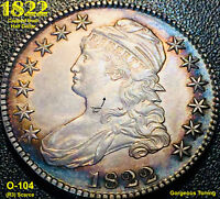 1822 CAPPED BUST HALF DOLLAR O-104 R3  - GORGEOUS TONING EYE APPEAL