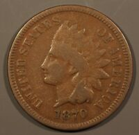 VG 1870 INDIAN HEAD CENT SNOW 4  PLEASING GOLDEN BROWN SURFACES. CLEAR RPD.