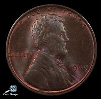 1909 V.D.B LINCOLN WHEAT CENT MINT STATE BROWN. PURPLE PERIPHERAL TONING. BU